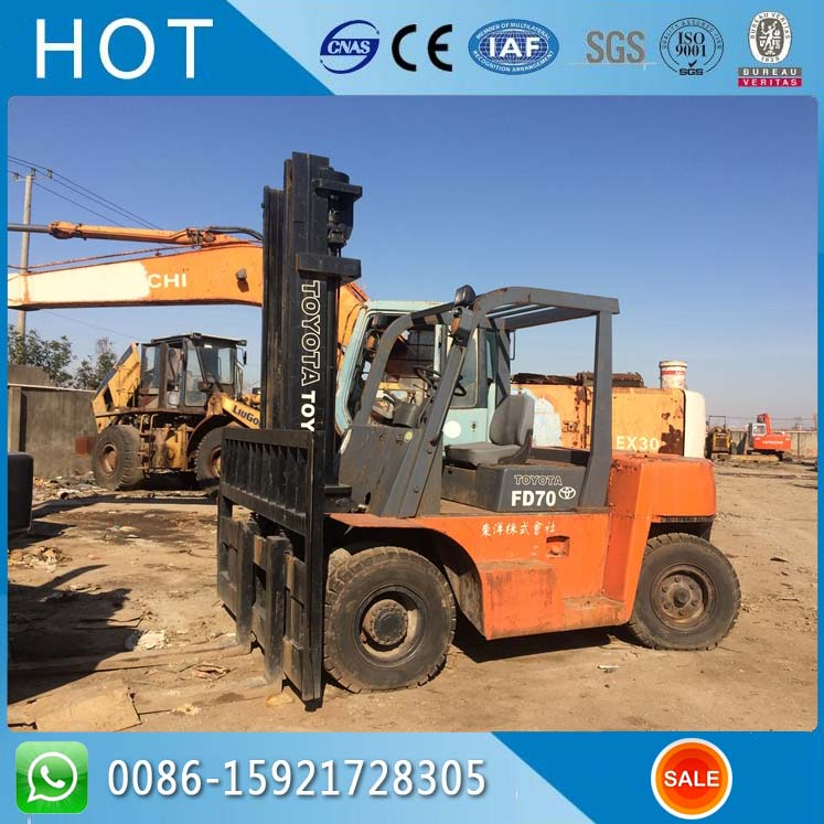 FD70 High Stage Mast 7 Ton Used Toyota Forklift Price in Korea