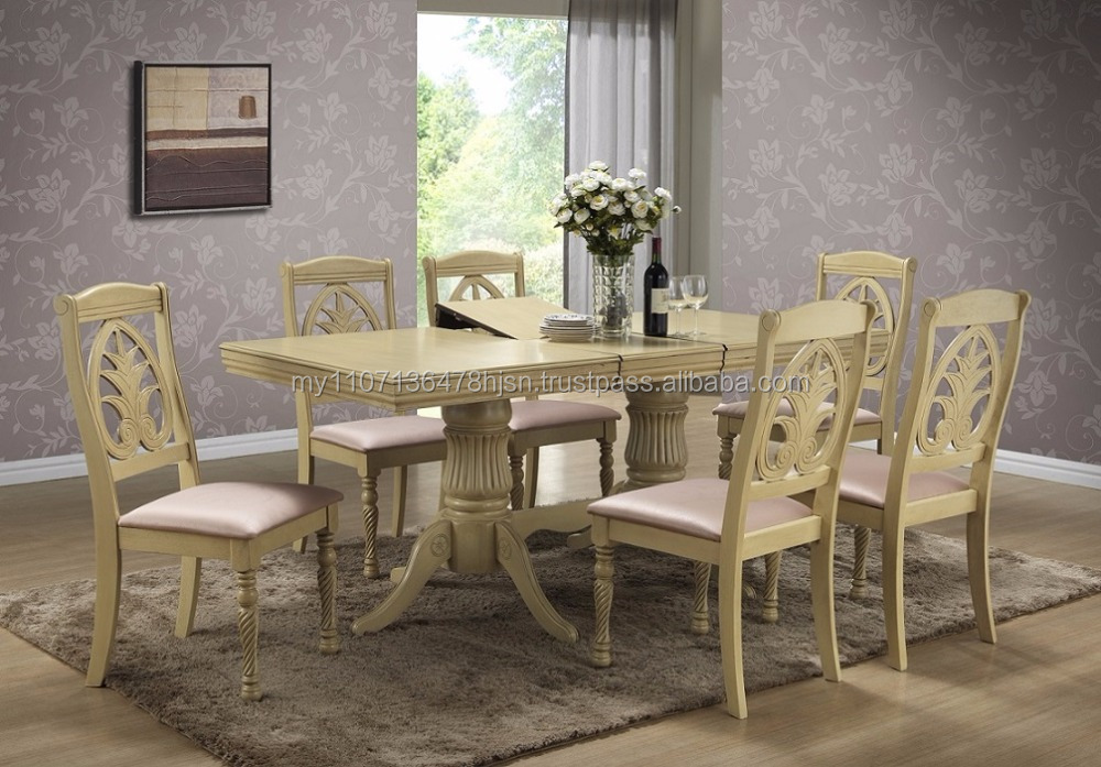 Classic extension dining set / Antique white wooden dining table and chair