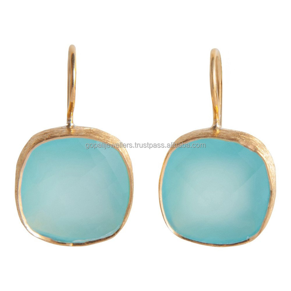 Aqua Chalcedony Gemstone Earrings- Matte Finish Vermeil Gold