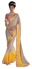 grey and yellow colored georgette saree.