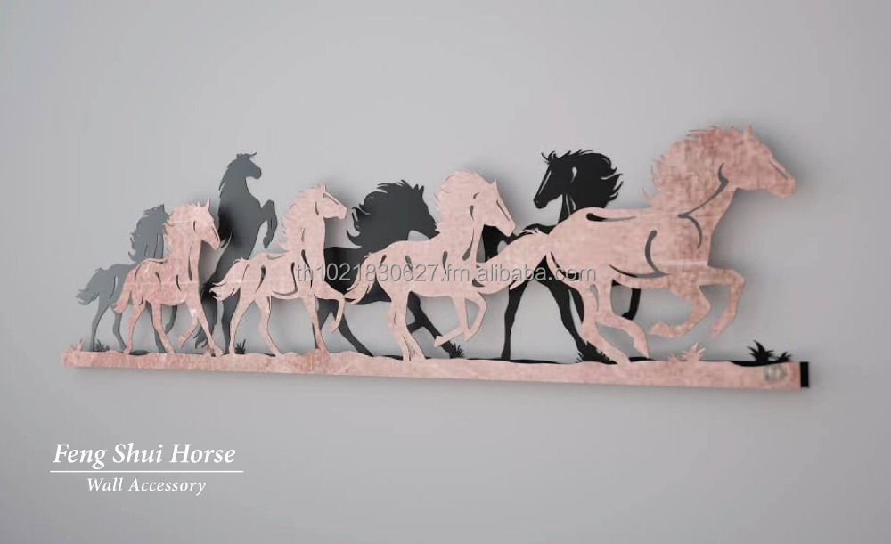 Chinese Feng Shui Horse Steel Wall Decor for Wealth Enhancement luck Symbols Office Decoration