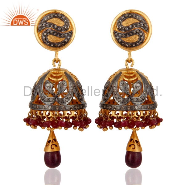 Latest Bollywood Style Ruby & Pave Diamond Jhumka, 925 Sterling Silver Bridal Jhumka Earring