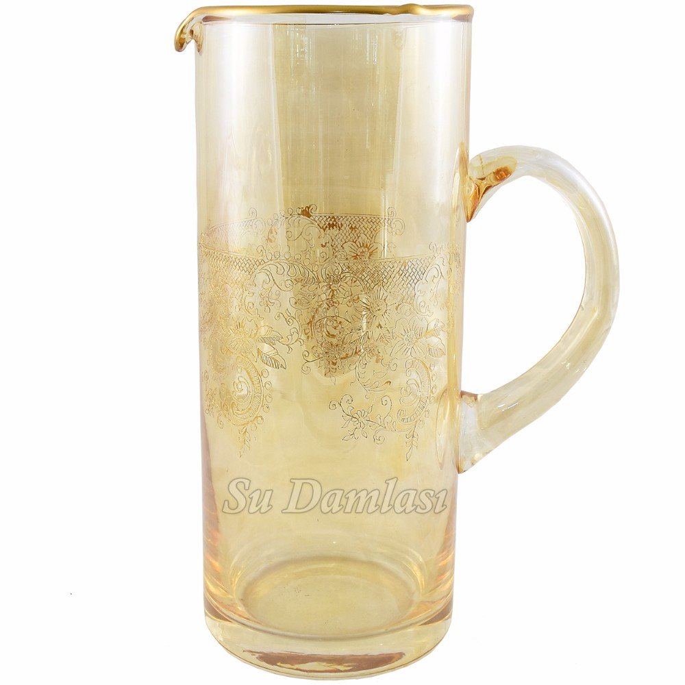 Water Carafe, Cylinder, Gold Water Pitchers Manufacturer, Turkish, Etched Pitcher, Amber, Gold Rimmed, Decorative, Home Decor