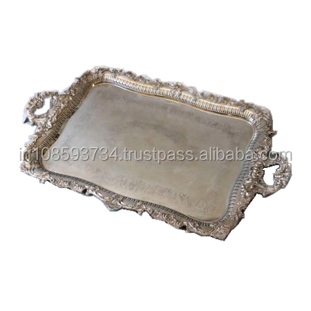 Silver Plated Metal Wedding Tray For Serving Guest