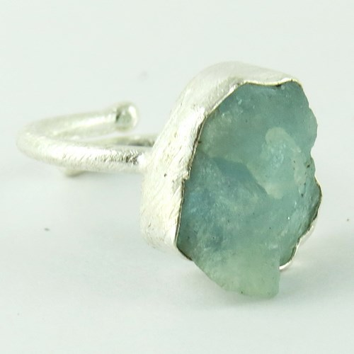 Brightened The Sky !! Aquamarine 925 Sterling Silver Ring, Silver Jewellery, Rough Stone Ring
