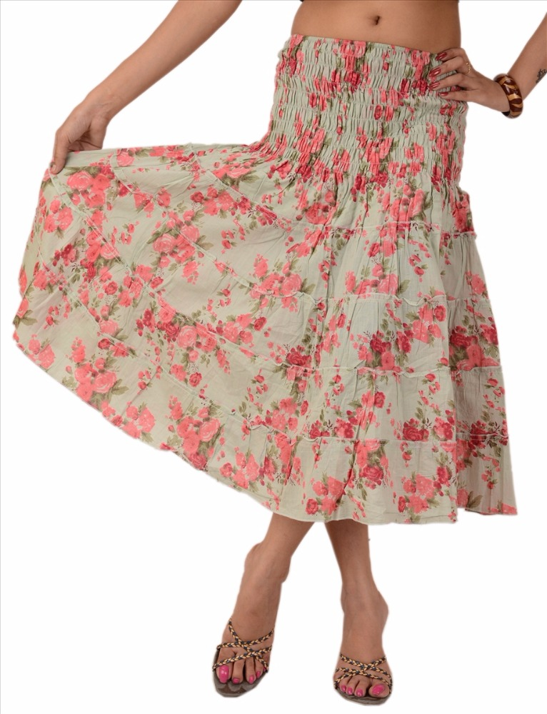 women long skirt top cotton maxi printed bohemian floral cream pink