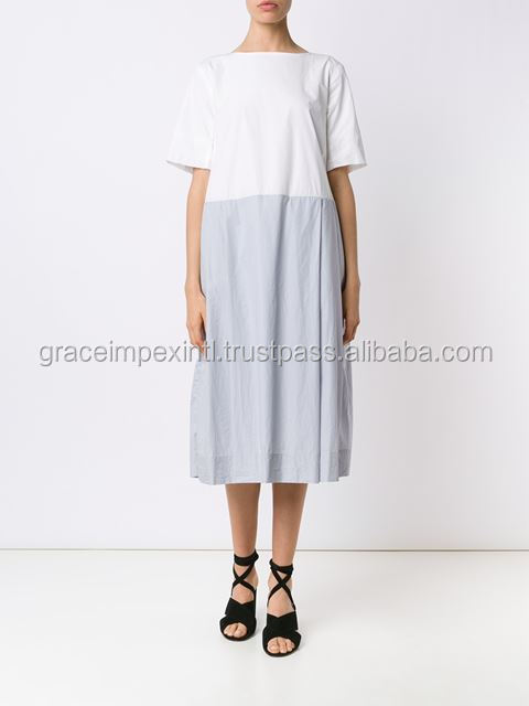 White and grey cotton contrast T-shirt dress