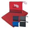 "Travel Blanket - 100% polyester, measures 47"" x 60"" with a zippered mesh bag and comes with your logo"