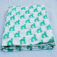 Green Camel White Colored Indian Hand Printed Cotton Fabric Block Stamp Cotton Multi Purpose Voile Running Fabric CJACF-14