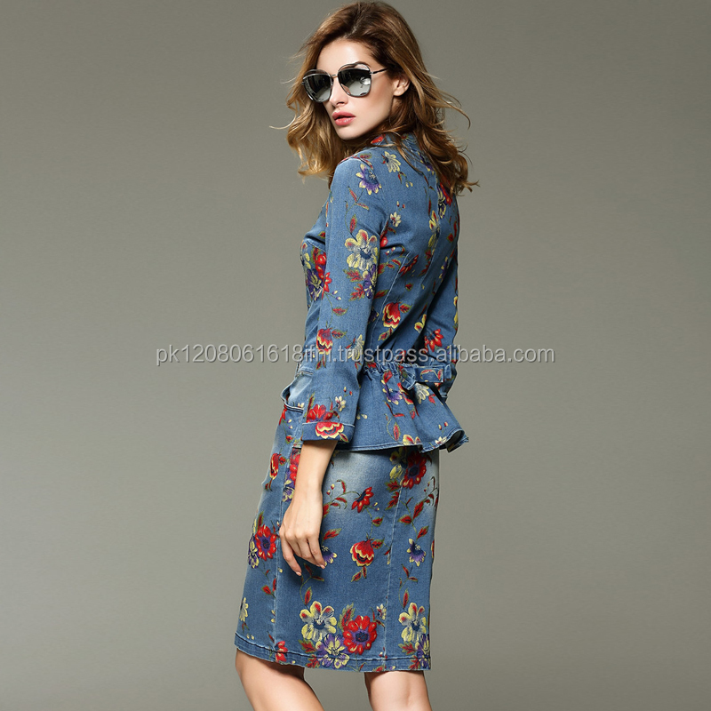 floral flower printed women 2 piece dress made in cotton jeans denim for women