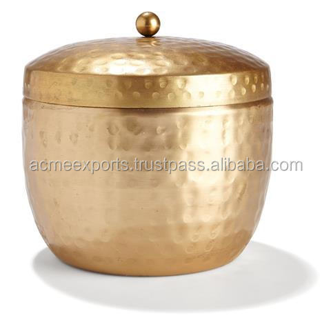 Custom Candle Making Tin Box Hammered With Brass Plated