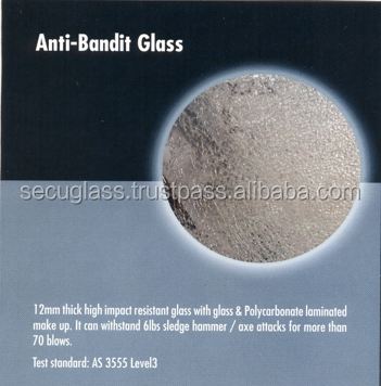 12mm Thick Anti-Bandit Laminated Safety Glass