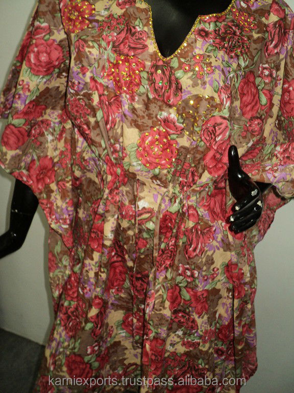 Printed Kaftan Summer Beach Women Robe Dress Tunic Top Poncho Night Gown