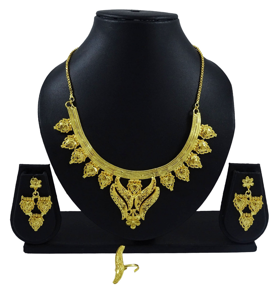 18K Goldplated Ethnic Bollywood 3Pcs Necklace Set Traditional Wedding Jewelry IMRB-BNG141A