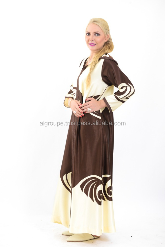 Simple and neat djellaba, High quality moroccan printed silk satin wedding kaftan