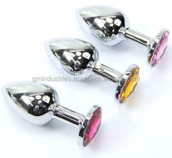 Butt Toy Plug Anal Insert Stainless Steel Metal Plated Jeweled Sexy Stopper sex toy 39