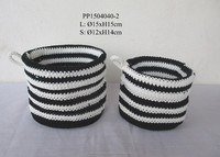 Black and white Polypropylene crochet flower pot