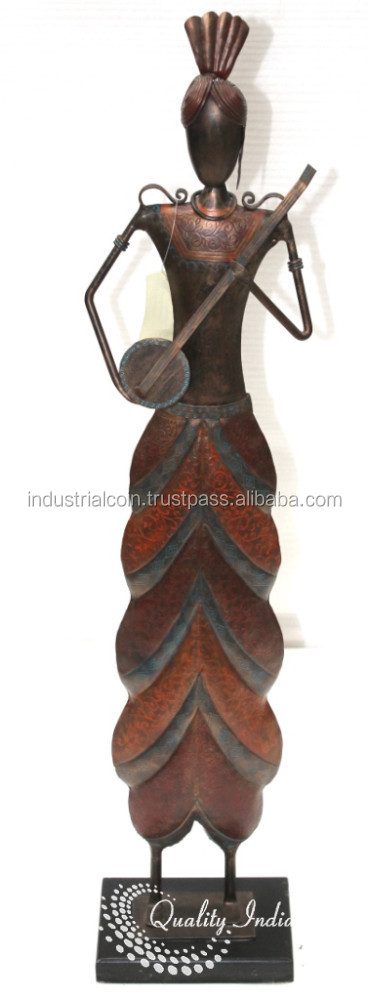 Indian Musician Man Figurine With Veena in Hand