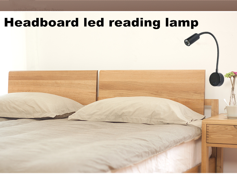 1w 110V 220V LED BED HEADBOARD READING LIGHT WITH FLEXIBLE ARM