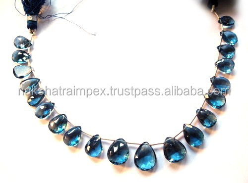 Natural London Blue Topaz Pear Faceted Loose Beads Strand