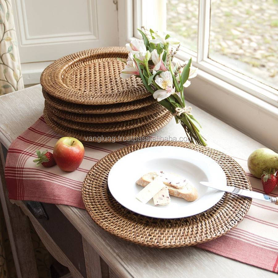 Rattan Bamboo Charger Plate / Manufacturer rattan basket