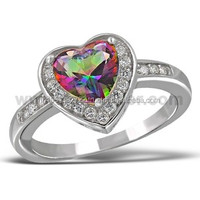 Heart Rainbow Mystic CZ Stone White Micro Pave Silver Ring 925 Sterling Silver Jewelry