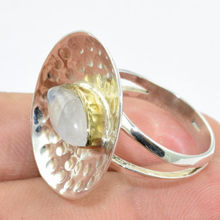 Shining round 925 sterling silver jewelry rainbow moonstone gemstone ring jewellery wholesale online 925 gemstone silver ring