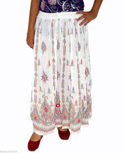 Embroidered Skirts Wrap Tribal Peasant Sequin Gypsy Indian handwork Rayon Skirt Boho Hippie Casual Sequin Work Long women White