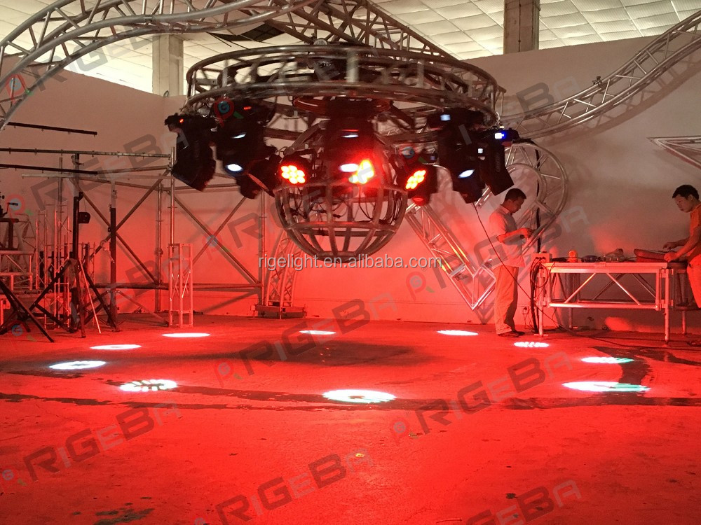 6061-T6 aluminum truss lighting truss for D2.6m round curved custom revolving and rotating dj truss with lifting motor system