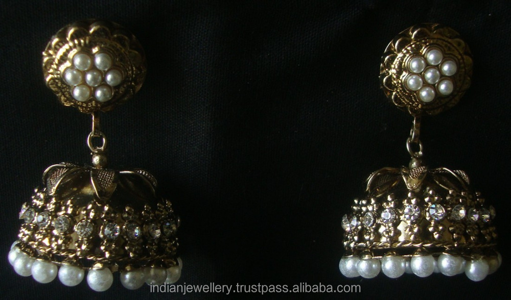 Indian Jewelry Jhumka Earrings, Big jhumka, Gold silver plated earrings Manufacturer