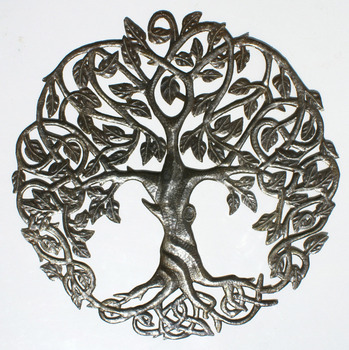 Tree of Life Metal Wall Art Decor Oil Drum Art Indoor and Outdoor Ornament Sculptures Retail and Wholesale, Size 24""