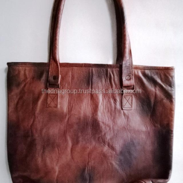 High quality classic design handmade vintage genuine goat leather handbag