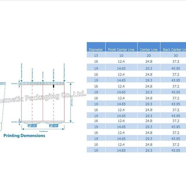Tube Printing Diamention Chart