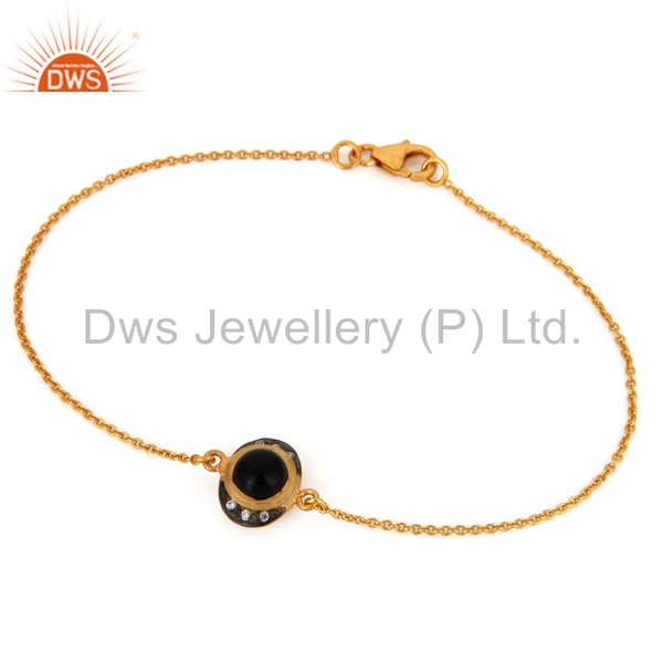 CZ and Natural Black Onyx Gemstone Bracelet Gold Plated 925 Silver Chain Bracelet Jewelry
