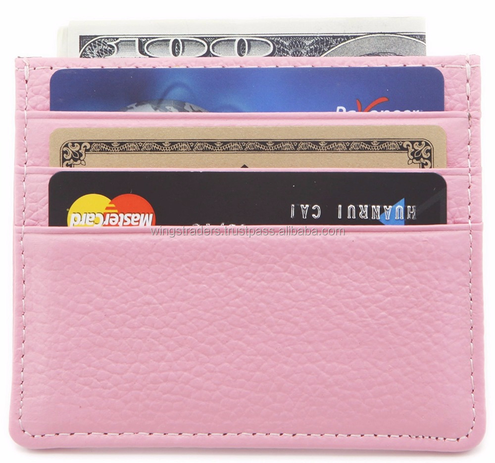 Genuine Leather Card Case Compact Wallet Slim Super Thin 6 Card Slots
