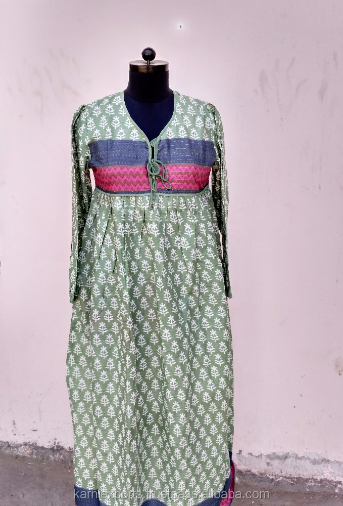 karni india jaipur classical royal touch 1970,s style of folk gauze coton dress