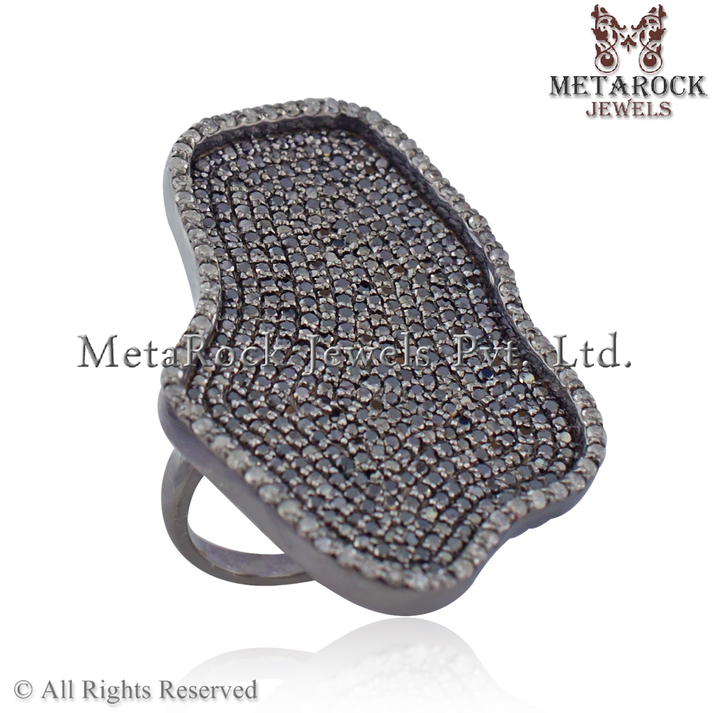 Black Diamond Pave 925 Sterling Silver Ring Handmade Latest Design Jewelry