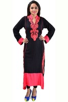 Flaunt Machine Embroidery Work Rayon Superb Designer Long Kurti