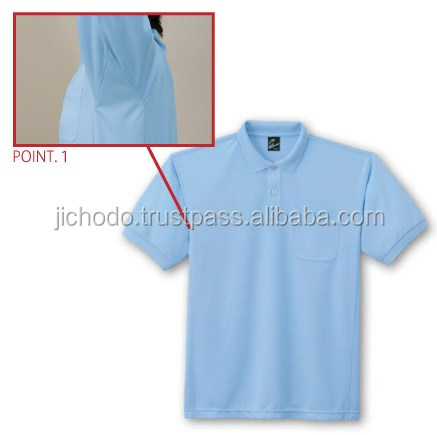 quick dry shirts for men / antistatic polo shirt with short sleeves. Made by Japan