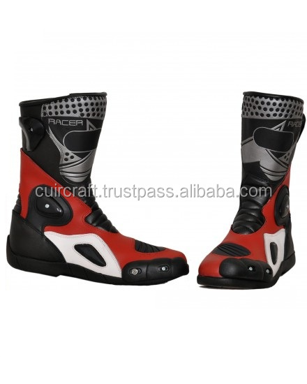 TOP BRAND RED LEATHER MOTORCYCLE BOOT