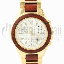 Mens Hawaiian Natural Rose Wood CZ Dial Sport Style Watch Yellow Gold Plated W9005GY1