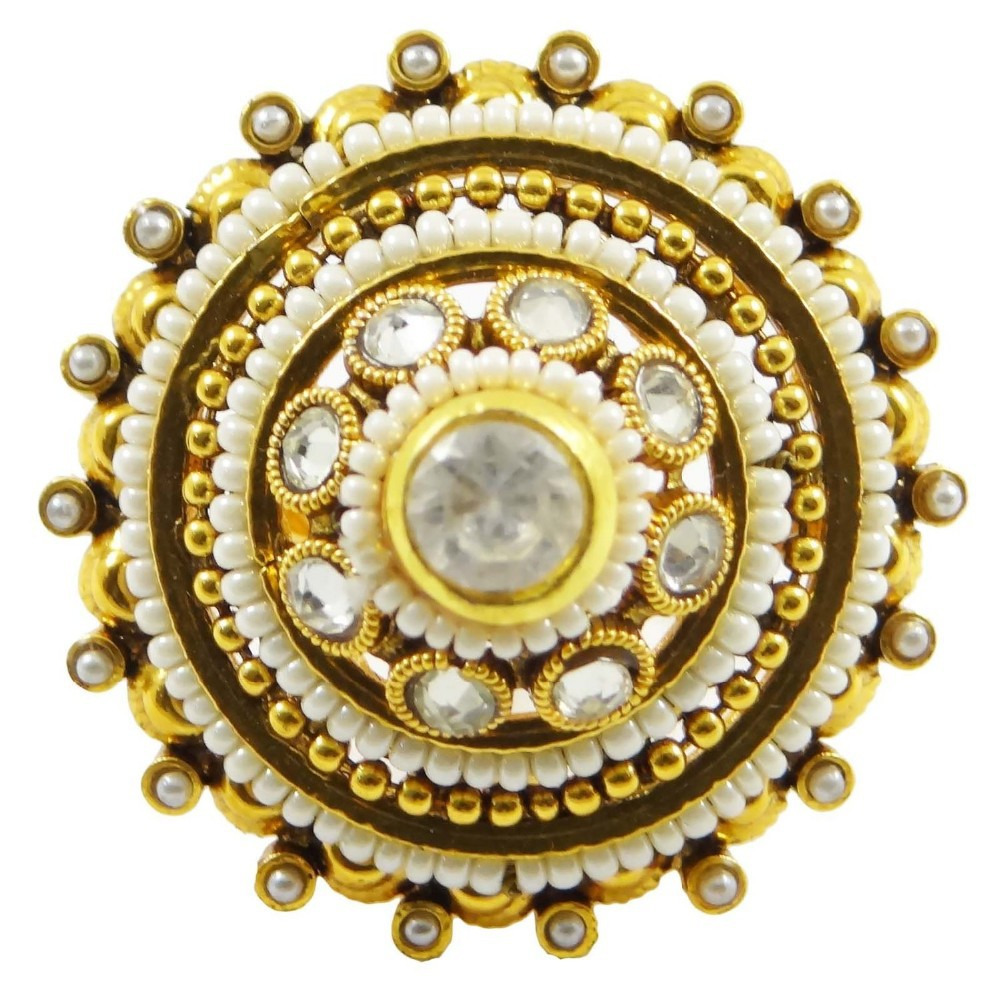 Indian Bollywood Goldtone Adjustable Kundan Ring Traditional Women Jewelry