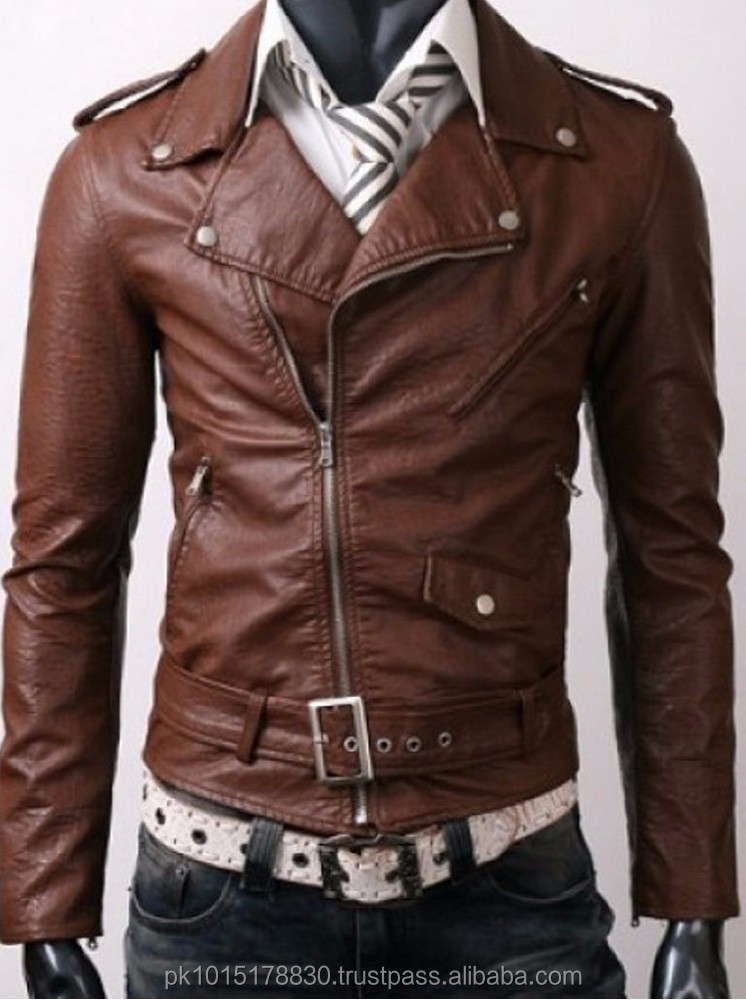 motor style men leather coat jacket