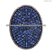 14k Gold Oval Shape Pave Diamond Blue Sapphire Gemstone Ring Handmade Silver Jewelry