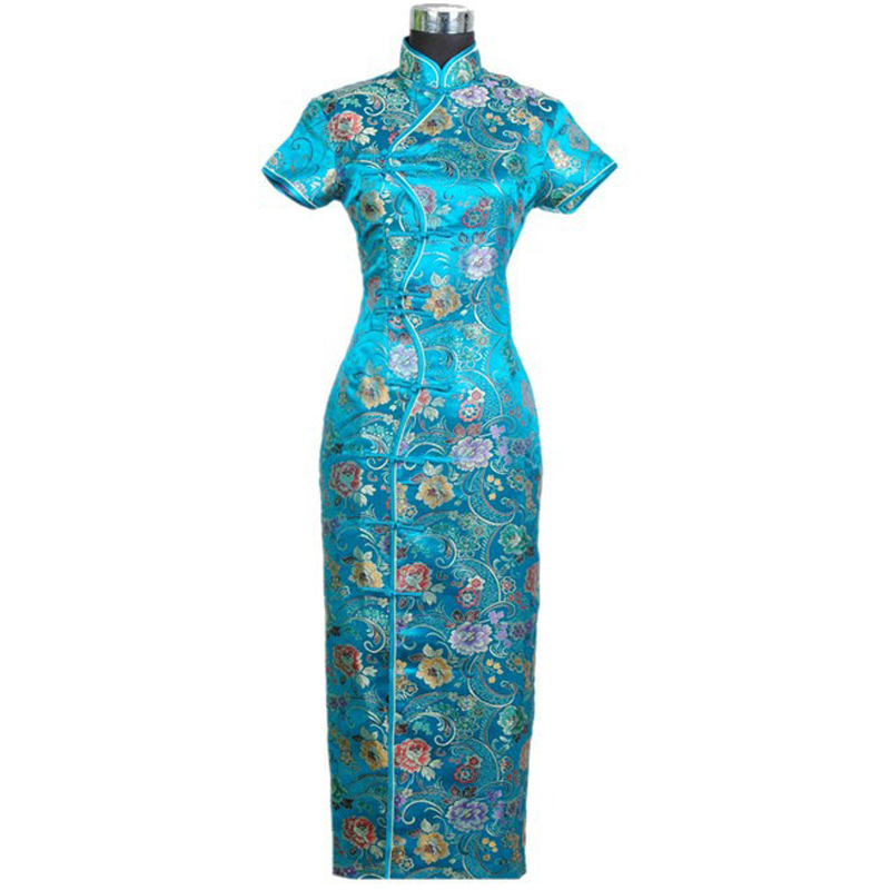 slim fit flower embroidered mandarin collar high quality qipao cheongsam with ankle length