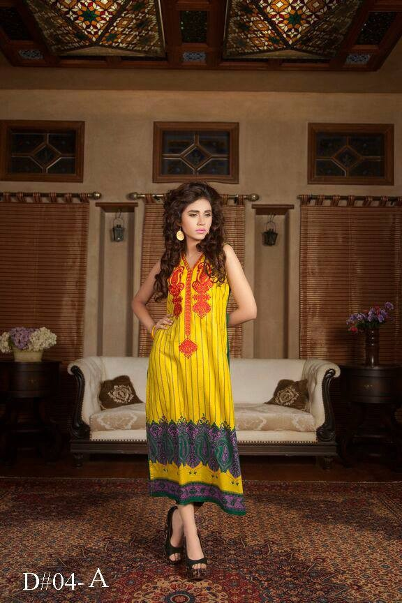 Yellow color long pakistani embriodered kurti Batik design no. 04-A / Pakistani embroidered kurti