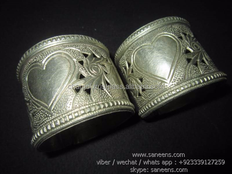 afghan kuchi handmade bangles bellydance tribal fusion cuffs pair nomad fashion vintage bracelets