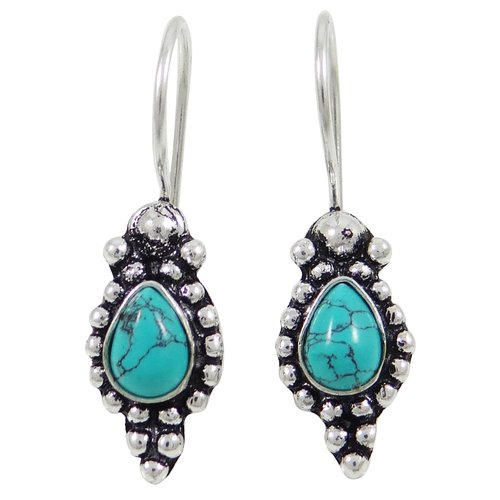 Turquoise Stone Dangle Earring Set Silver Plated Indian Women Ethnic Jewelry -SE7051