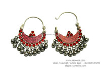 red gemstones afghan bridal earrings bellydance costuming jewelry earplugs kuchi ladies handmade ear tops