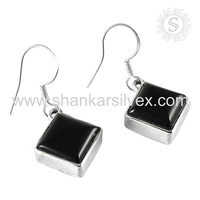 Asian Fashion Natural Black Onyx 925 Sterling Silver Earring Gemstone Silver Jewelry Supplier